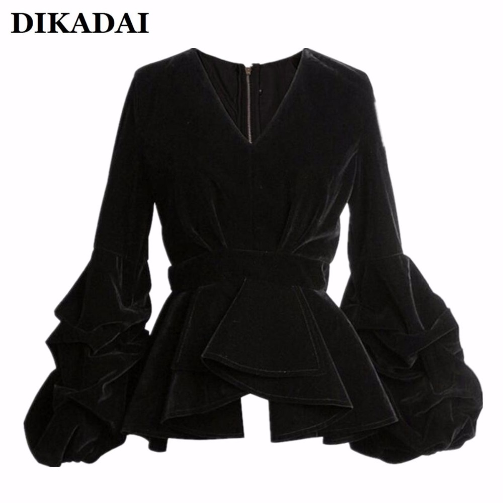 Women Sexy Puff Sleeve Blouse Shirts Black Velour Casual Ruffle Wrap Tops with Zipper S M