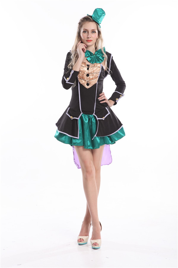 2015 Free Shipping Zy558 Ladies Mad Hatter Fancy Dress Up -3286