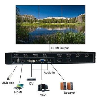 ISEEVY Video Wall Controller 3x3 2x5 2x4 HDMI DVI VGA Processador de vídeo USB para 9 TV Splicing Display 1