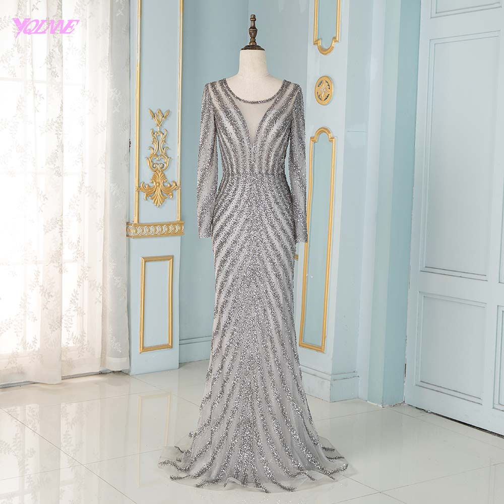 Elegant Full Sleeve   Evening     Dresses   Long Gray Tulle Beading Mermaid Formal Women Party   Dress