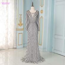 Elegant Gray Long Sleeve Evening Dresses 2020 Tulle Beading Mermaid Formal Women Party Dress YQLNNE
