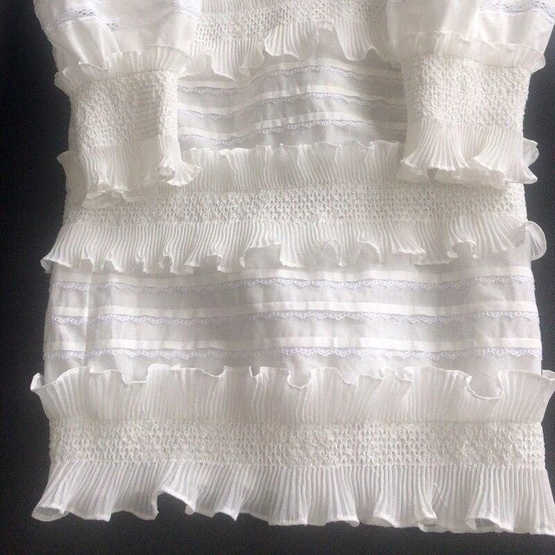 Et Plage V D'été Manches Mode Bouffantes 2018 Robe Profond Vocation Patchwork Blanc Col Xxvzg