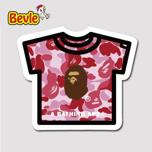 Bevle 1450 Bathing Ape T shirt Fashion 3M Sticker Waterproof Laptop Luggage Fridge Skateboard Car Graffiti