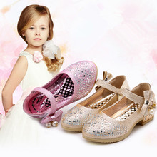 Pink Silver Spring Autumn Kids Shoes Butterfly-knot Rhinestone Princess Shoes For Wedding party Big Girls Dancing Shoes 3-15T rose pink red orange children princess shoes baby girls shoes kids bows rhinestone girls leather shoes kids party shoes 3 15t