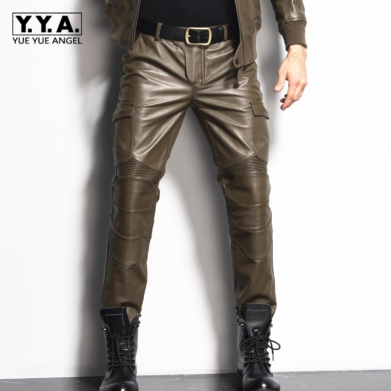 2019 New Mens Straight Pants Genuine Leather Slim Couple Long Pants Pockets Male Fashion Motorcycle Pants Brand Plus Size 29-36