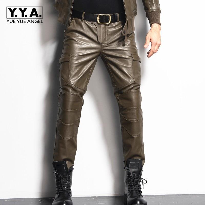 2019 новые мужские прямые брюки из натуральной кожи, тонкие длинные брюки с карманами, мужские Модные мотоциклетные брюки, брендовые размера плюс 29 36