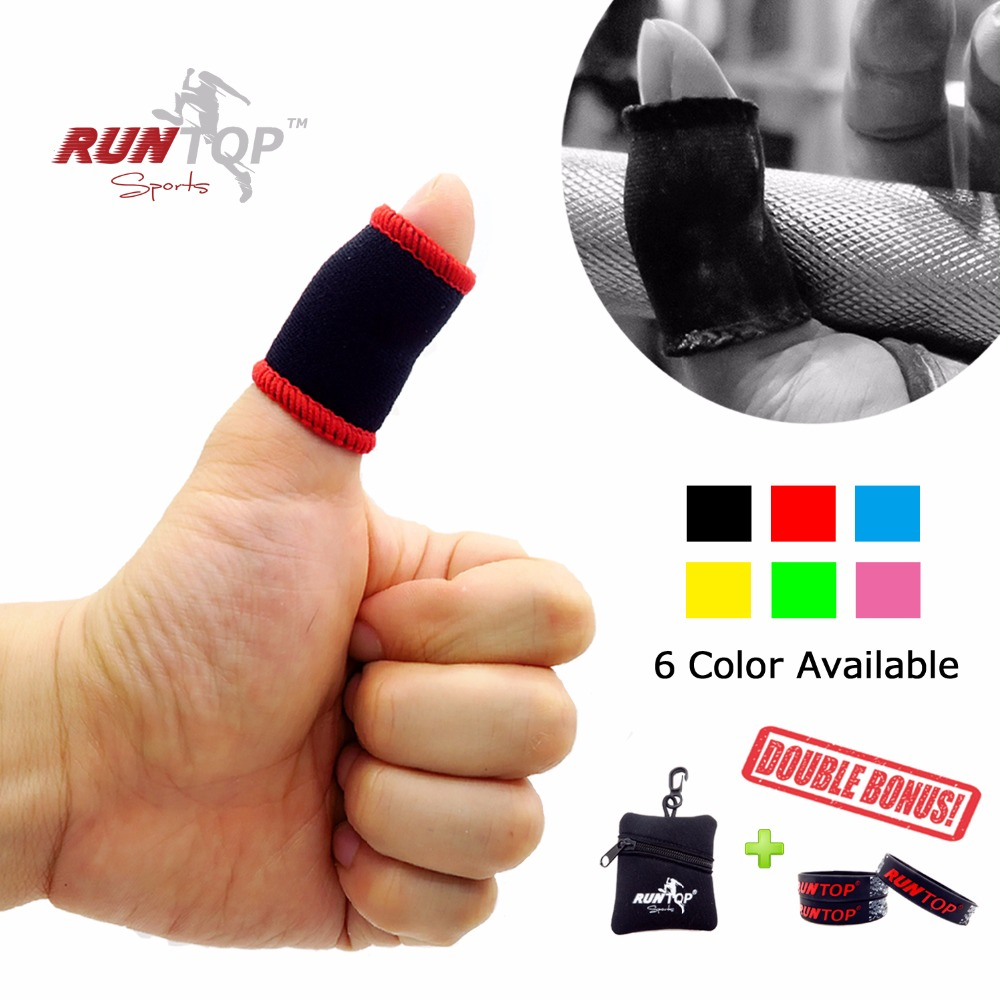 RUNTOP Finger Thumb Sleeves Hook Grip Protection for Weightlifting Powerlifting Crossfit Training WODs Prevent Tear Rips Blister