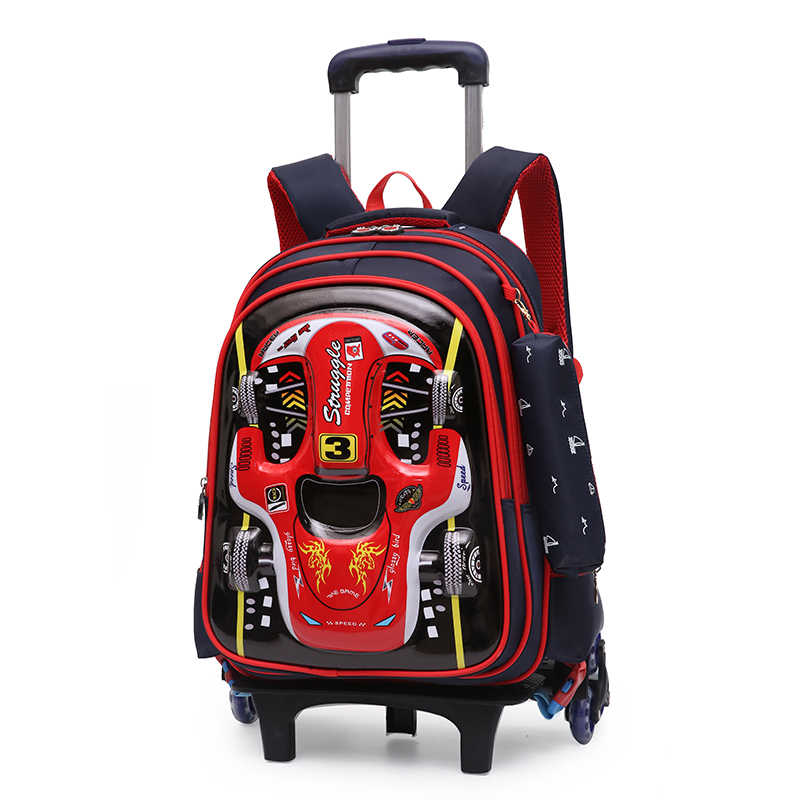 9448d1ce4cd5 Children Trolley School Bag Backpack Wheeled 3D Car Printing book Bag For  boy Gril Kids Wheel