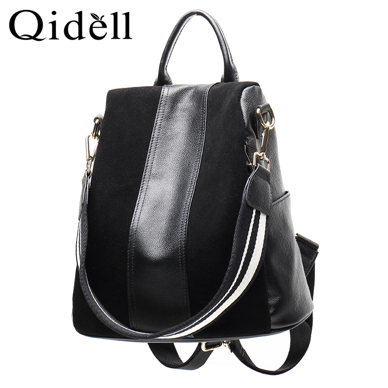 Qidell K669 Anti-theft Design With Zipper In The Back Genuine Leather Women Backpack School Preppy Style Double Shoulder Bag