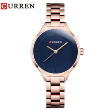 купить Top Brand CURREN Fashion Women's Luxury Stainless Steel Band Analog Quartz WristWatch Gold Ladies Watch Women Dress Reloj Mujer дешево
