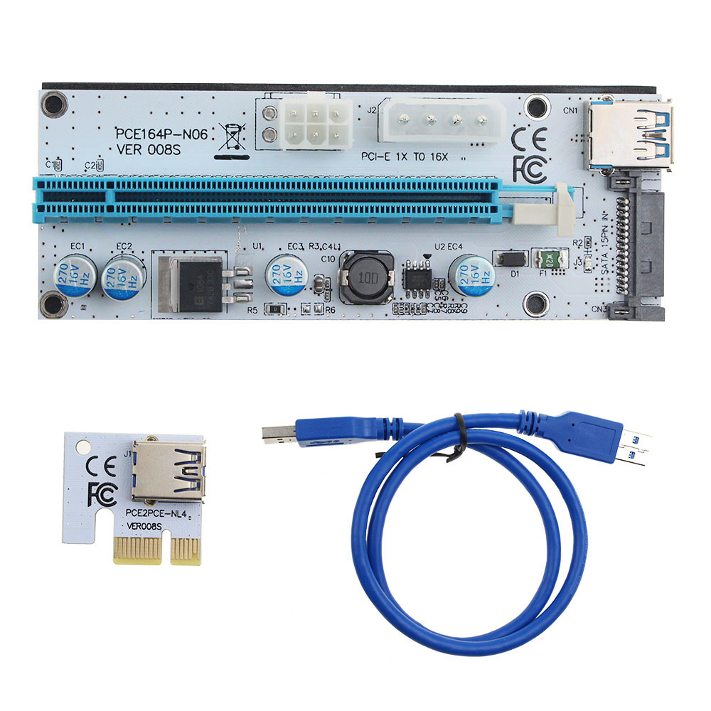 1Pcs VER 008S PCIe PCI-E PCI Express Riser Card 1x to 16x USB 3.0 Data Cable For Mining Bitcoin Miner