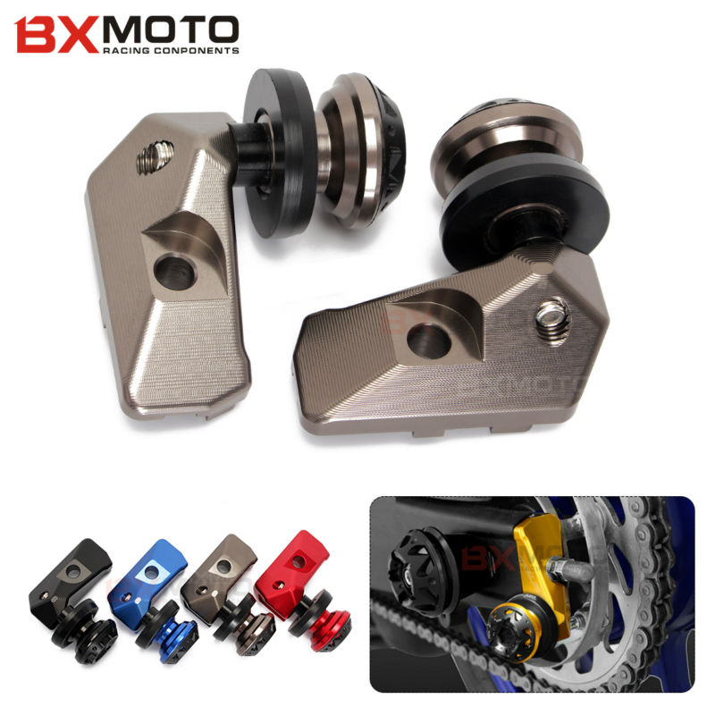 Motorcycle Aluminum Cnc Rear Axle Spindle Chain Adjuster Blocks With Spool Sliders Kit For Yamaha R3