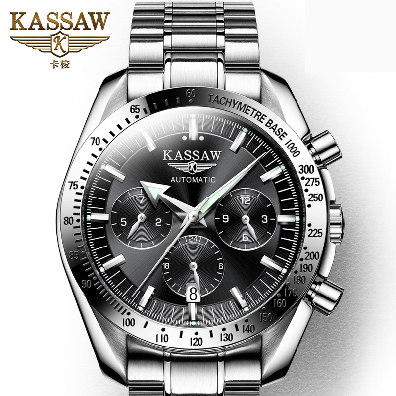 KASSAW Genuine Watch Mens Automatic Mechanical Watch Fashion Sports Steel Men Large Dial Waterproof Luminous WatchKASSAW Genuine Watch Mens Automatic Mechanical Watch Fashion Sports Steel Men Large Dial Waterproof Luminous Watch