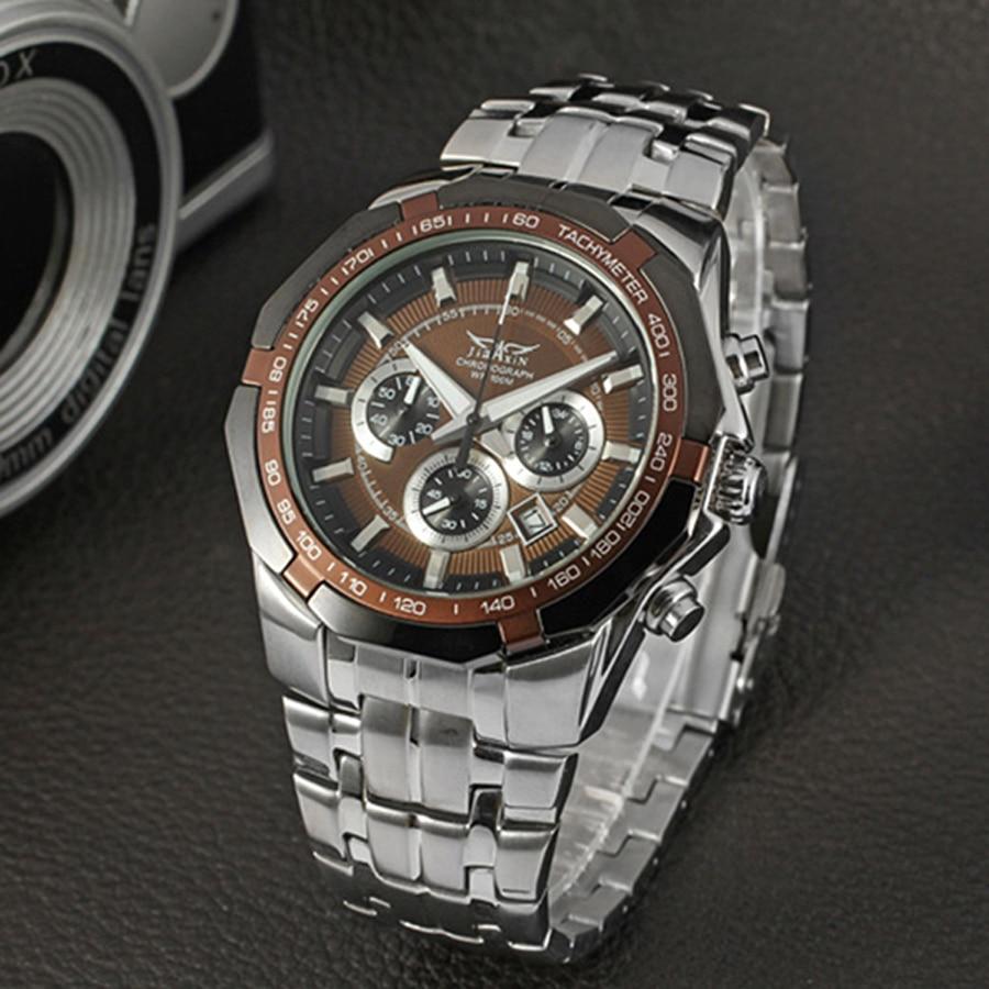 купить JARAGAR men watches men luxury brand Mechanical Watch Business Man Wristwatch Triple Sub-dial Stainless Steel Analog Watch по цене 4190.14 рублей