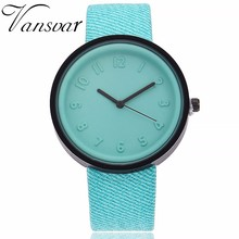 Vansvar Brand Fashion Simple Women Watch PU Leather Number Q