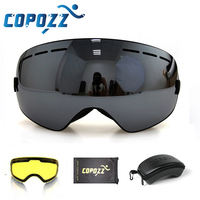 COPOZZ brand ski goggles 2 layer lens anti fog UV400 day and night spherical snowboard glasses men women skiing snow goggles Set