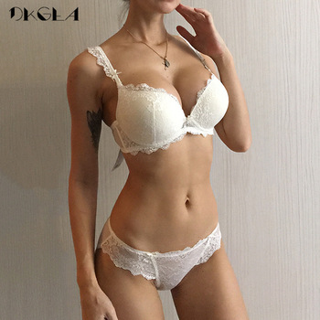 New Women's underwear Set Lace Sexy Push-up Bra And Panty Sets Bow Comfortable Brassiere Young Bra Adjustable Deep V Lingerie 1
