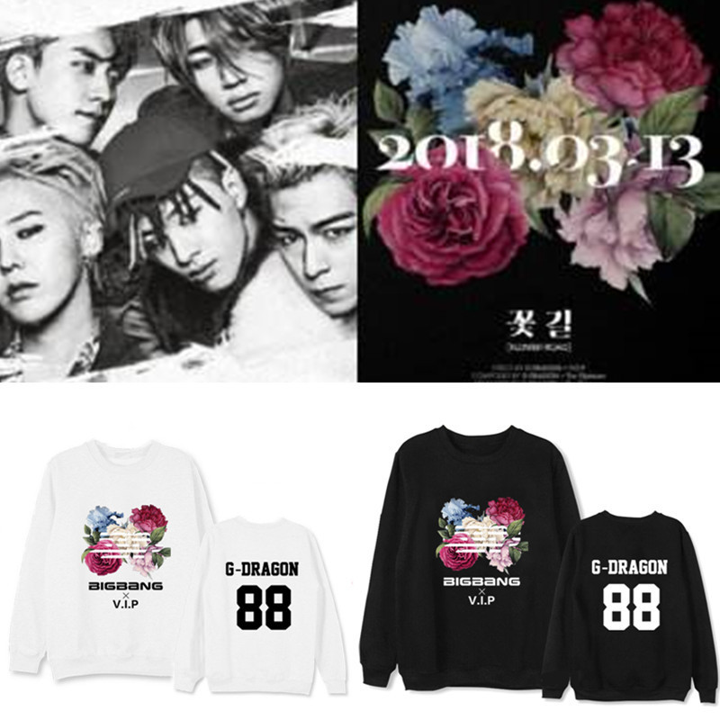 Considerate K-pop Bigbang Quanzhilong Album Flower Road Concert With The Same T-collar Suit Kpop Sweatshirts Bigbang A Complete Range Of Specifications Women's Clothing