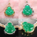 NEW Imperial Green Jade Buddha Inlaid Rhinestone Gold Plated Or Silver Plating Pendant 1PCS