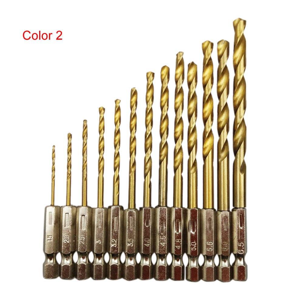 13 Pcs Titanium Coated HSS Drill Set Twist Drill Hex Shank Drill 1.5mm-6.5mm Home Tool Accessories For Drilling Wood Aluminum