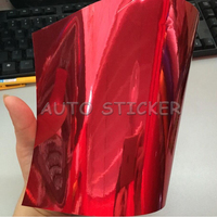 Stretchable Chrome RED Car Wrap foil Film Full Car High Flexible chrome vinyl Air release Size:1.52*20M/Roll 5X66ft