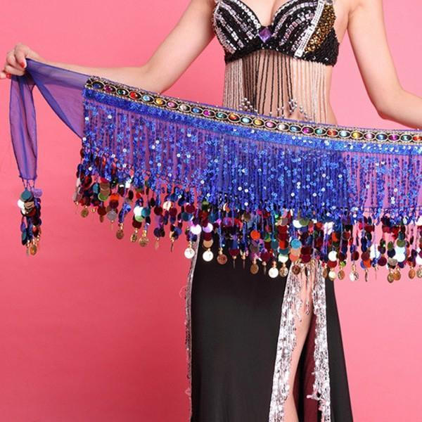 Multi Color Chiffon Belly Dance Hip Scarf Coin Sequin Belt Skirt Tassel Hip Wrap