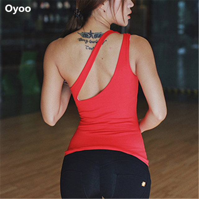 2046f89c15ff3 Oyoo one-shoulder red padded yoga tops women s sleeveless sport fitness  tank top running shirts white gym clothes sexy vest