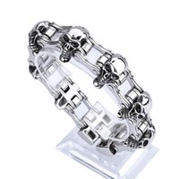 Bike cycling fashion skull titanium stainless steel bracelet punk bracelet 316L
