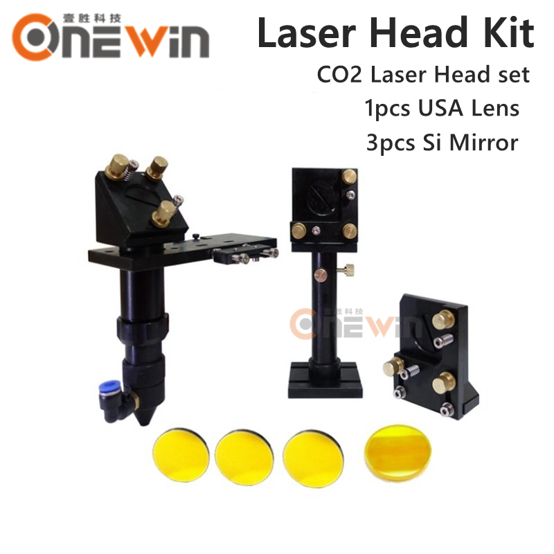 CO2 laser head set CO2 lase cutting head+reflective Si mirror 25mm+focus focal lens 20mm for co2 laser mount parts aluminum co2 laser head set dia 20mm znse focal focus lens fl 50 8mm integrative mount dia 20mm si reflective mirror