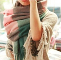 2016 Winter New Faux plaid scarf large cape dual muffler scarf tassel ultra long thickening Women fashion Scarf