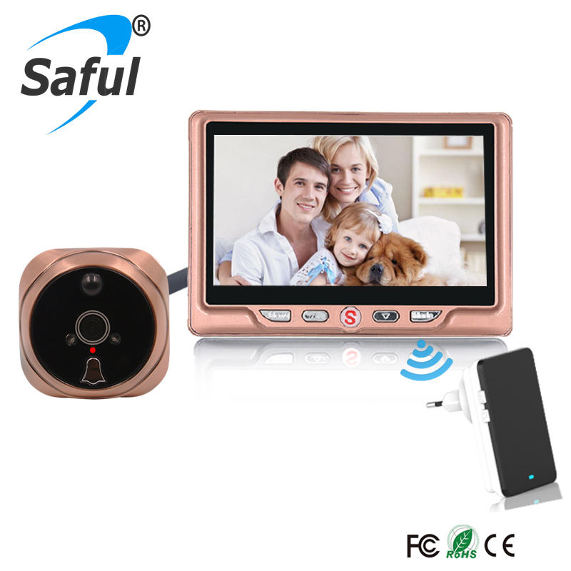 Saful Digital video peephole door viewer with Multi-languages HD 4.3TFT-LCD recordable with one wireless doorbell Free shipping 7 inch video doorbell tft lcd hd screen wired video doorphone for villa one monitor with one metal outdoor unit night vision