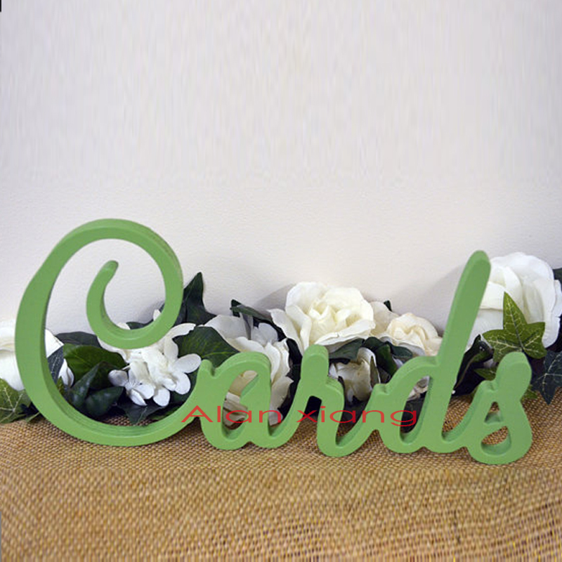 Cards Sign for Wedding Table - Freestanding Cards - Painted Wooden Wedding Sign for Reception Decorations