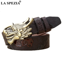 LA SPEZIA Real Leather Belt Buckles For Men Sliver Dragon Pin Buckle Male Designer Coffee Genuine Cowhide Belts