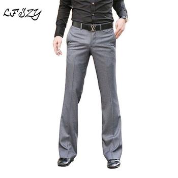 Męskie spodnie garnitur 2020 nowych mężczyzna spodnie dzwony formalne spodnie Bell Bottom pant taniec biały garnitur spodnie formalne spodnie dla mężczyzn rozmiar 37 tanie i dobre opinie LFSZY SWNZ073 Poliester Mieszkanie Smart Casual Zipper fly Gray Black General perfume for men mens dress pants Suit pants