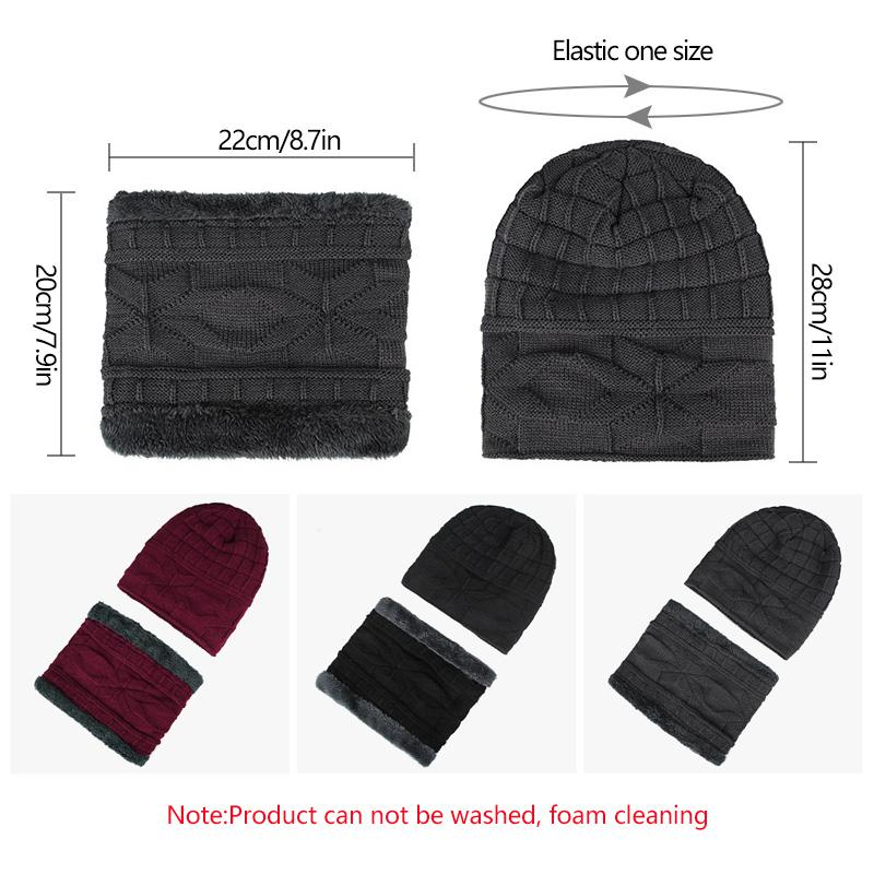 04cb838fe20 ... 2018 New Brand Solid Color Knit Beanies Hat Scarf Plus Velvet Winter Hat  Man Woman Warm ...
