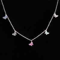 MW 925 Sterling Silver Choker necklace butterfly necklaces & pendants collar women jewelry Christmas gift NYX0071242