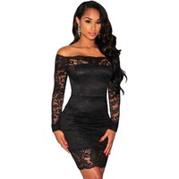 2017 Women Lace Off Shoulder Dress Black Long Sleeve Sexy Night Club Clothes Short Tight Dresses