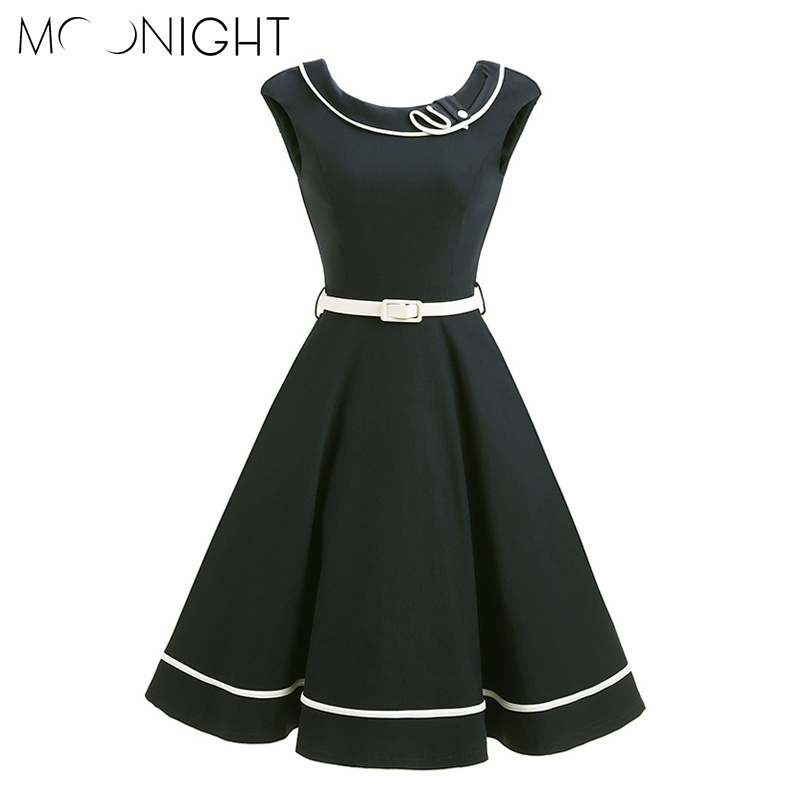 MOONIGHT Sleeveless Women <font><b>Vintage</b></font> <font><b>Dress</b></font> Black Blue Summer <font><b>Dress</b></font> <font><b>1950s</b></font> <font><b>60s</b></font> Retro Party <font><b>Dresses</b></font> image