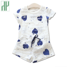 Toddler girls summer clothing Heart Printed Short Sleeve white shirt + Shorts Casual boutique kids clothes girls outfits Suit summer baby girls clothing set leopard kids short sleeve shirt cake skirt casula clothing suit little girls boutique outfits