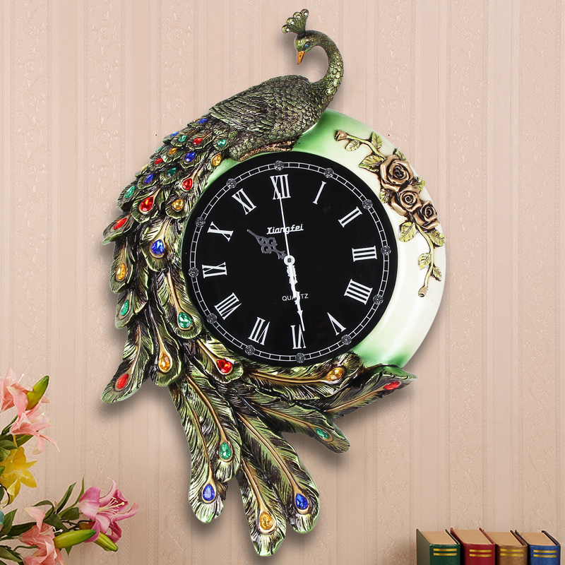 Fashion Resin Peacock Wall Clock Vintage Diamond Large
