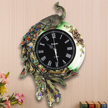 Fashion resin peacock wall clock vintage diamond Large mute personality watches and clocks