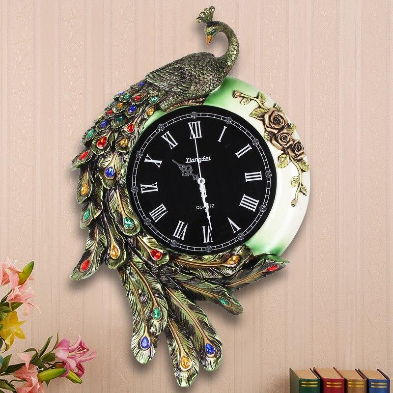 Resina moda pavão relógio de parede do vintage Grande diamante relógios personalidade mudo e relógios