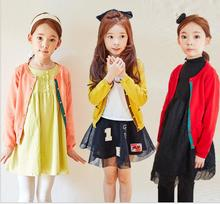 Full Cotton Solid O-Neck Cardigan for girls Decoration Pockets Korean Style 2017 Fashion Autumn Winter New Clothes Hot Sale S119
