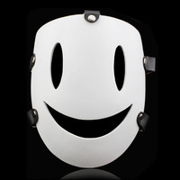 2017 New Smile Resin Mask Adult Costume Accessory Fancy Party Full Mask Party Cosplay White Face Mask Smile Creepy Resin Mask