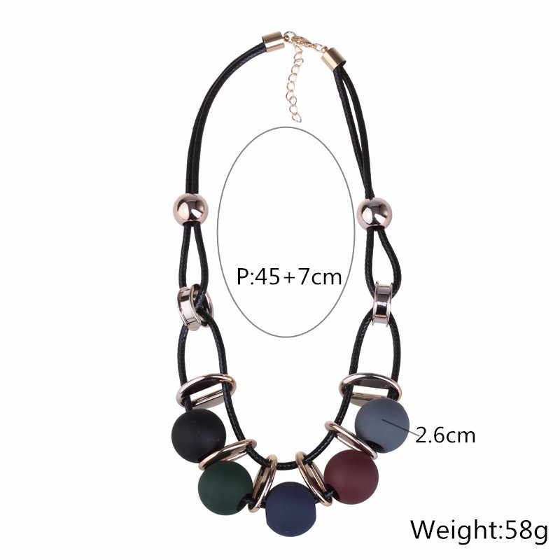 2019 New Maxi Ball Necklace Gradient Large Glazed Candied Acrylic Beaded &Cotton Rope Choker Statement Necklaces For Women