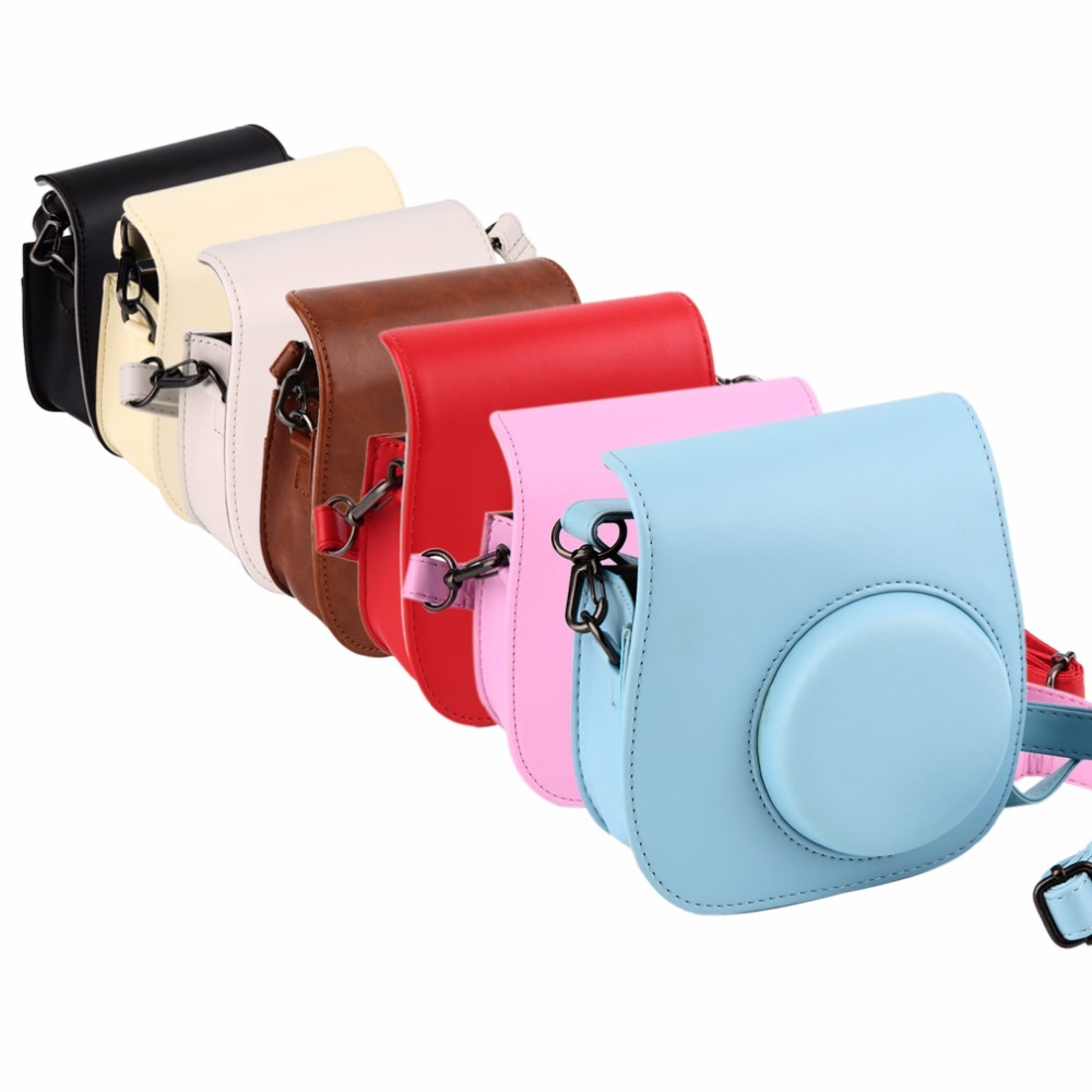 Lovely Leather Camera Shoulder Strap Bag for Polaroid Colorful Case Pouch For Fuji Fujifilm Instax Mini 8 Vintage 5 Colors