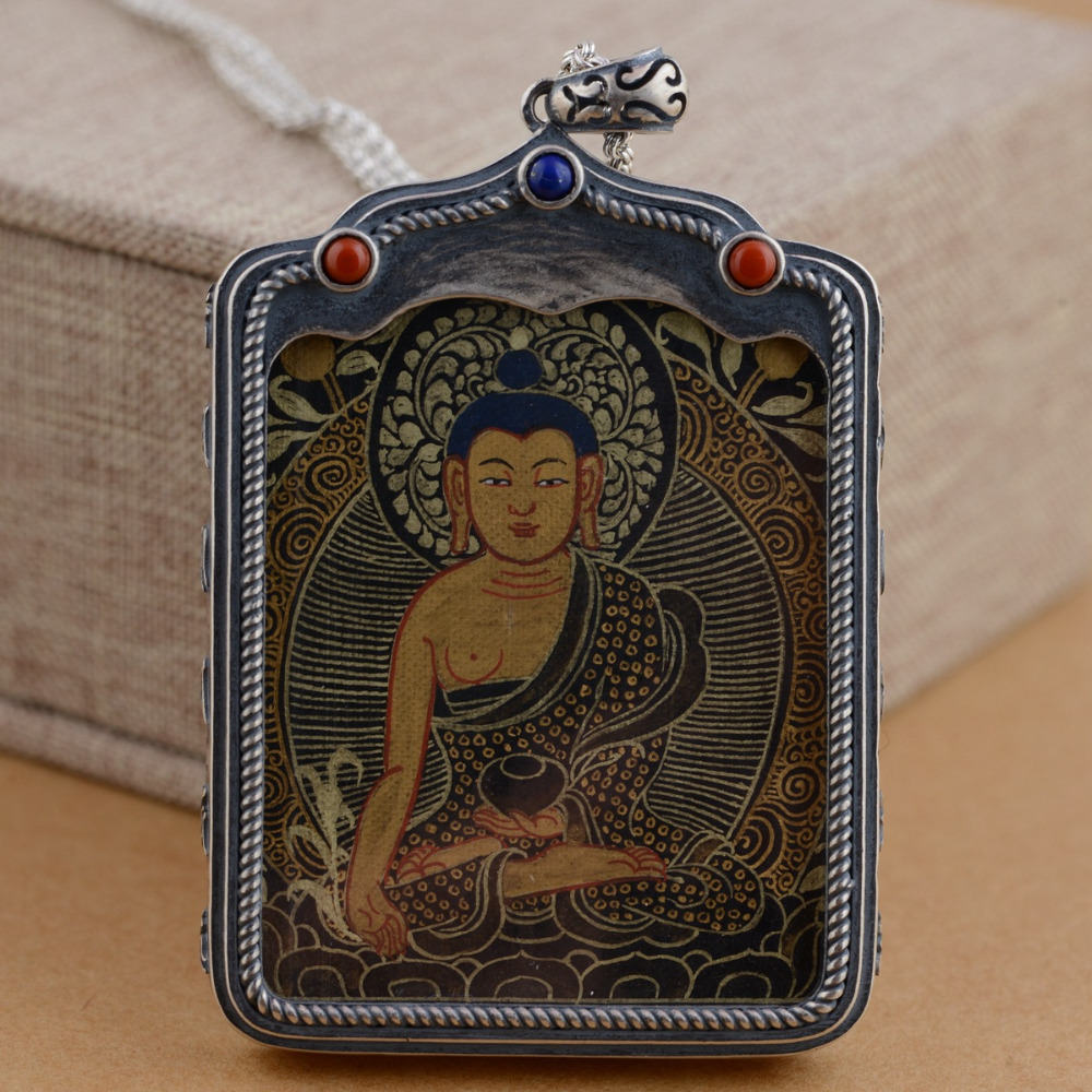 NEW 925 Silver Tibetan Medcine Buddha Thangka Pendant Necklace Pure Silver Tibetan Medicine Buddha Necklace Pendant buddha sounds buddha sounds v new mantrams