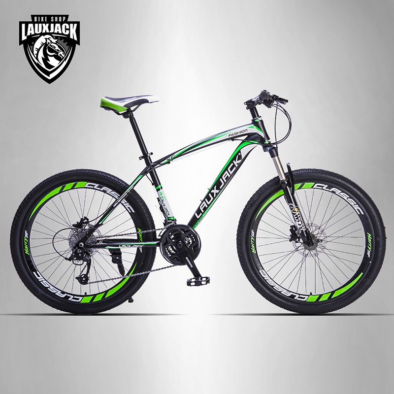 Mountain bike quadro de aço LAUXJACK 24 velocidade Shimano freios a disco mecânico 26