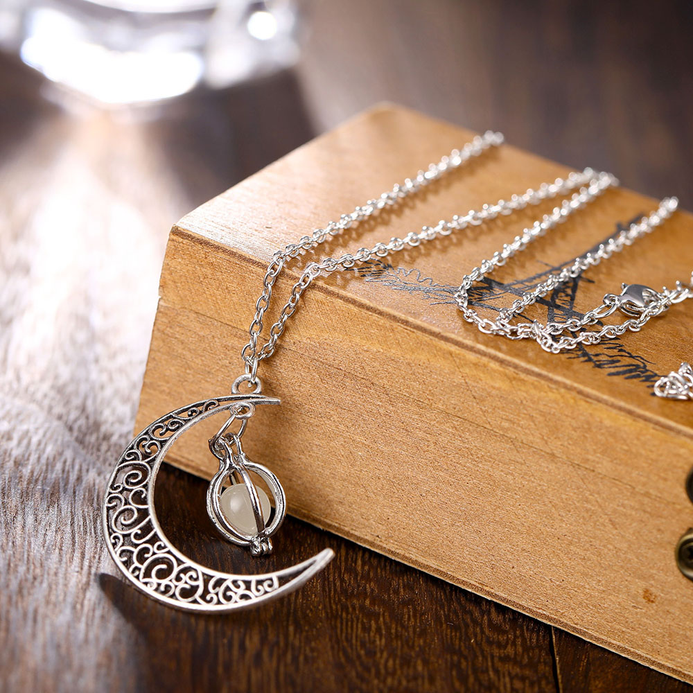Vienkim Neo-Gothic Luminous Pendant Necklace Women Charm Moon In The Dark Glowing Stone Necklaces For Jewelry Christmas Gifts 9