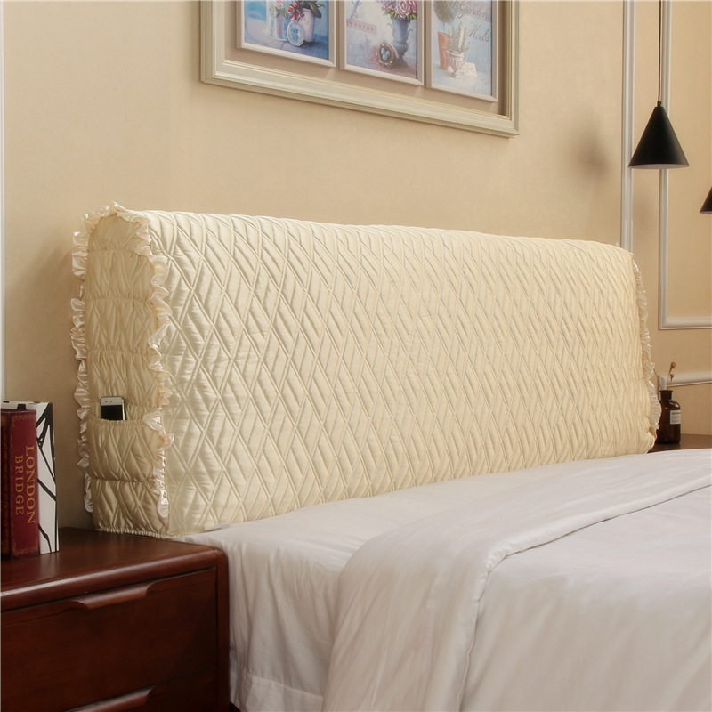 Modern minimalist fabric quilted all-inclusive headboard bed cover dustproof cover solid wood soft bag back cover bed spreadModern minimalist fabric quilted all-inclusive headboard bed cover dustproof cover solid wood soft bag back cover bed spread
